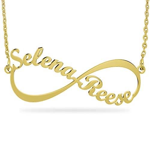 JOELLE JEWELRY Infinity Namenskette 925 Sterling Silber mit Zwei/DREI/Vier Wunschname, Individuelle Unendlichkeit Halskette Silber/Rosegold/Gold mit Namen