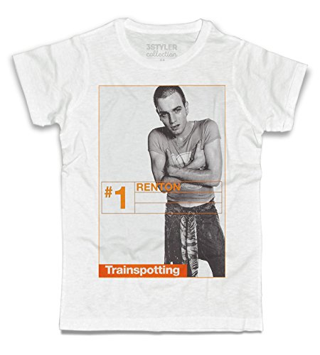3stylercollection, Trainspotting t-Shirt Uomo – Renton, Colore: Bianco, Taglia: Small
