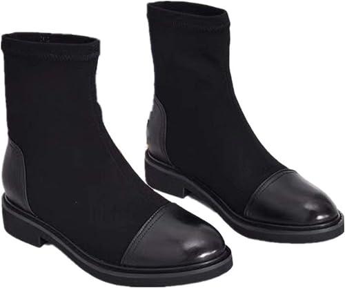 Gaslinyuan Bottes de de Couleurs mélangées pour Femmes en Cuir à Enfiler des Chaussures élastiques (Couleuré   Noir, Taille   EU 36)