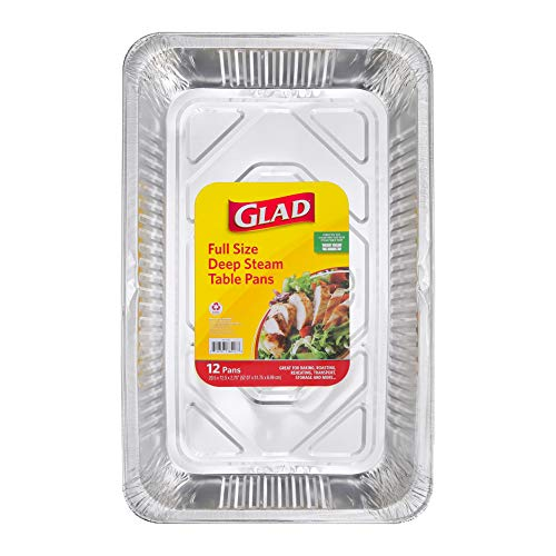 Glad BB11983 Aluminum Pans, Full Size-12 Count