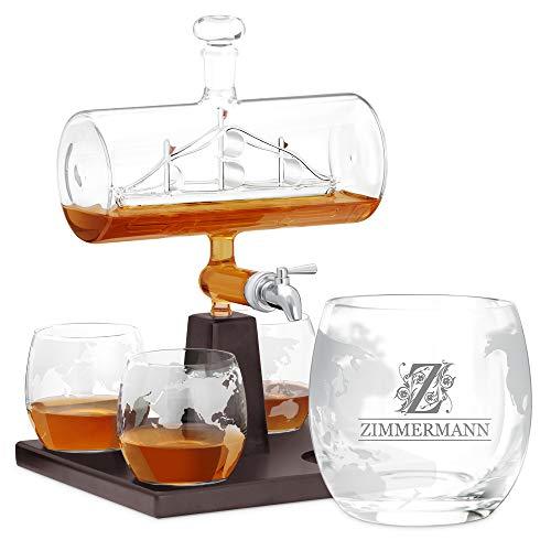 Murrano Whisky Karaffe mit Gravur - Schiff mit Edelstahl-Wasserhahn, 1000 ml - 4er Whiskygläser Set - Whisky Dekanter - Personalisiert (Monogramm)