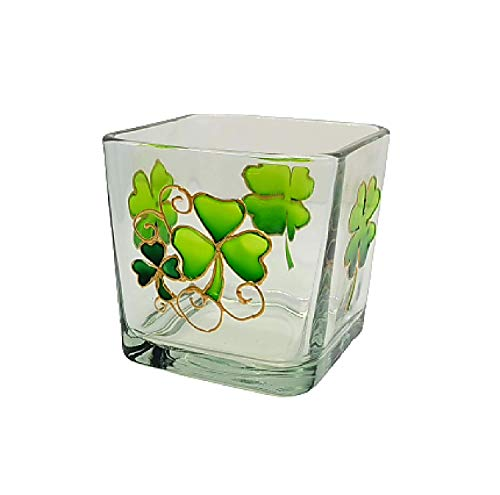 Green Shamrock Four Leaf Clover Hand Painted Stained Glass Square Candle Holder St Patrick's Day Decor