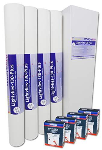 4x Glattvlies Renoviervlies Lightvlies 130 Plus (75m²) inkl. 4x Wilckens Rollkleister