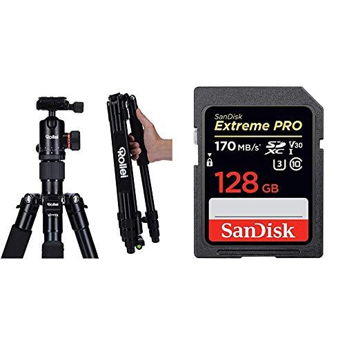 Rollei C5i - kompaktes, leichtes, Allround Fotostativ aus Aluminium mit Kugelkopf und Stativtasche, Verwendbar als Dreibeinstativ & SanDisk Extreme PRO 128GB SDXC Speicherkarte bis zu 170 MB/s