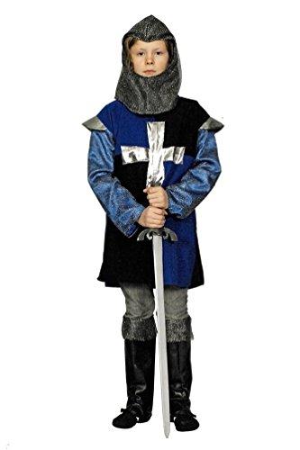 Kostüm für Kinder Kreuzritter Mittelalter Blau-Schwarz, Gr. 116-128