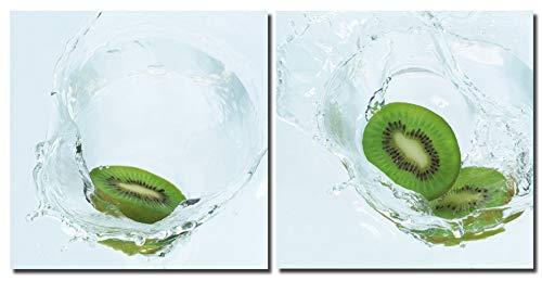 Huis en decoratie muurschildering 2-delig Kiwis in water Fruit Dropped in Splashing water fotodruk 2 afbeeldingen op houtvezelplaat eenvoudige montage modern 2 mal 30x30 cm groen