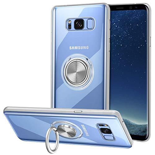 Vunake Hülle für Samsung Galaxy S8 Plus,Silikon TPU Slim Case mit 360 Grad Ring Ständer Handyhülle Fingerhalter Magnetische Autohalterung Weiche Schutzhülle Cover für Samsung Galaxy S8 Plus,Clear