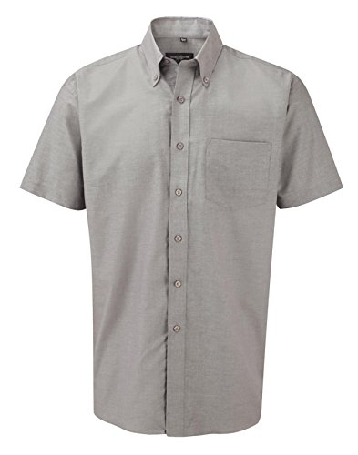 Russell Collection Men's Easy Care Oxford Short Sleeve Shirt Silver 14.5
