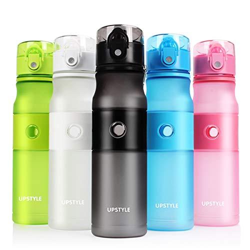Upstyle Best Sports Water Bottle - 24oz - Fast Flow, Flip Top Leak Proof Lid w/One Click Open - Non-Toxic BPA Free & Eco-Friendly Tritan Co-Polyester Plastic (Navy Blue, 24oz/700ml)