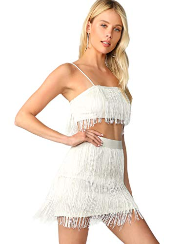 SOLY HUX Women's Spaghetti Strap Fringe Cami Crop Top with Skirt Set White Small