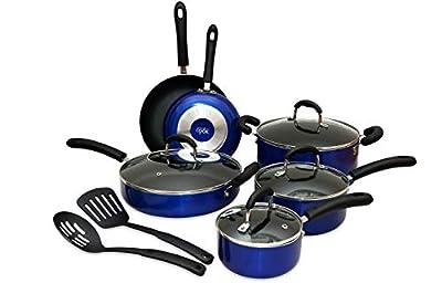 ANYONECANCOOK 12-Piece Non-stick Aluminum Pots and Pans Cookware Set (Blue)