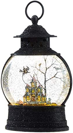 RAZ Imports 10 Inch Haunted Mansion Witch Lighted Water Lantern Halloween Water Globe product image