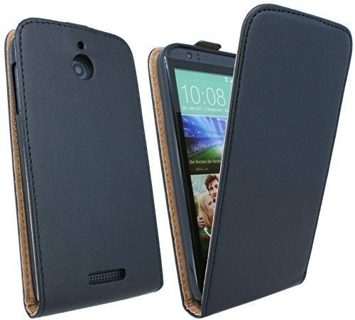 ENERGMiX Klapptasche Schutztasche kompatibel mit HTC Desire 510 in Schwarz Tasche Hülle