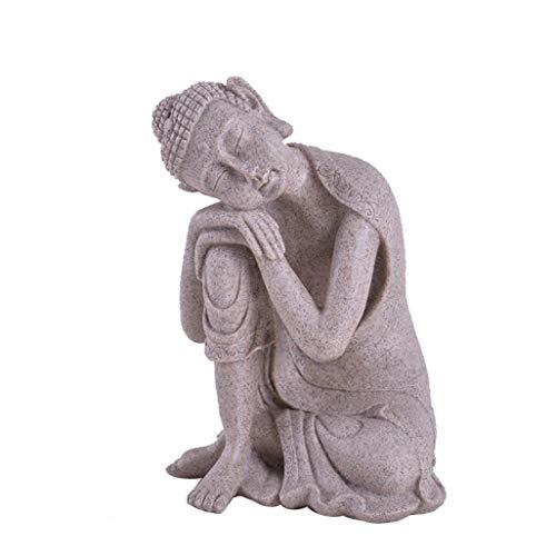 JDSHSO Nature Sandstone Crafts Sleeping Buddha Statue Thailand Fengshui Figurines Gift Mercy Monk Sculpture