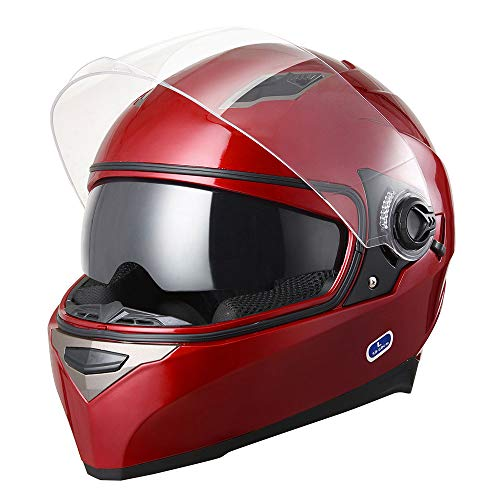 AHR RUN-F DOT Motorcycle Full Face Helmet Dual Visors Sun Shield Lightweight ABS Street Bike...