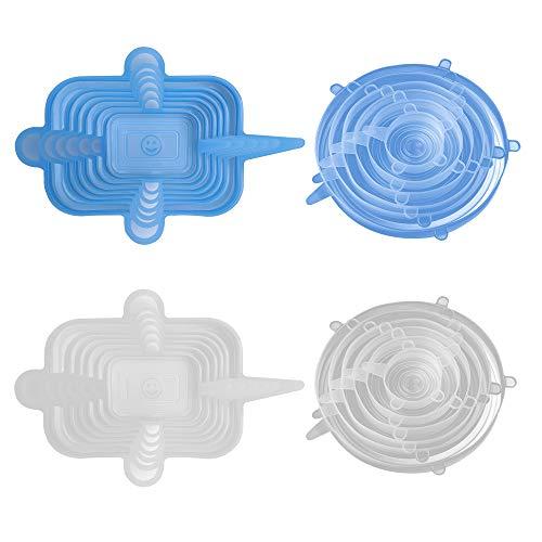 Tapas de Silicona Elásticas,24pcs Tapas Silicona Ajustables Cocina Tapas de Silicona Reutilizables Ecológicas Unidades de Varios Tamaños Funda de Silicona de Grado Alimenticio