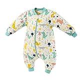 Saco de dormir para bebé con piernas forrado cálido invierno manga larga saco de dormir de invierno con pie 2.5 tog (bosque verde, L / altura 110cm-120cm)