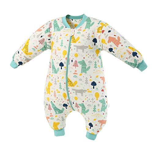 Baby Schlafsack mit Beinen Warm Gefüttert Winter Langarm Winterschlafsack mit Fuß 2.5 Tog (grünerWald,L/Höhe 110cm-120cm)