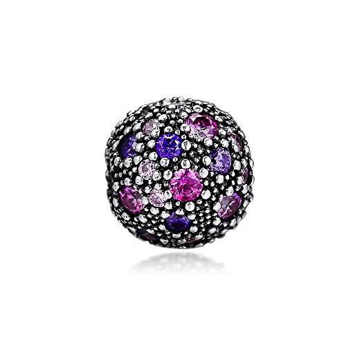 pandora 925 plata esterlina colgante DIY plata esterlina púrpura multi color cz estrellas cósmicas clip granos encanto para la fabricación de joyas sirve pulseras encantos originales
