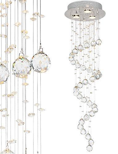 Glas Kristall Decken - Hängeleuchte Deckenleuchte Deckenlampe mit K9 Glaskristallen Lüster Ø30 x 100cm (H) 3x GU10