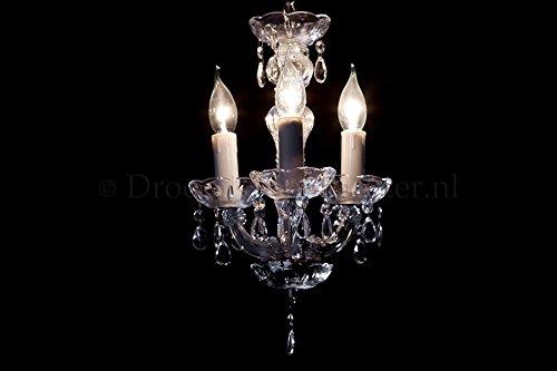 Kronleuchter Maria Theresa 3 flammig Chrom - Ø27cm Venezianischen Glas - Klassisches Lüster Silberfarbe 3 Armig
