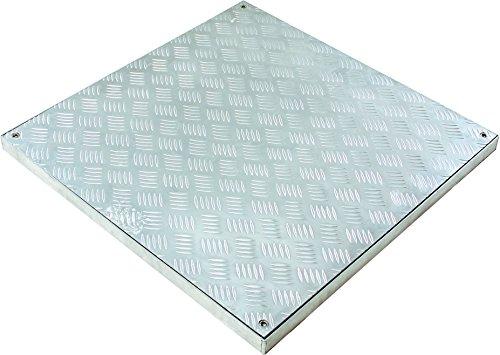 Schachtabdeckung PRO-RI aus Aluminium Riffelblech, bodengleich, Einbautiefe 40 mm, Größe: 400 x 400 mm (lichtes Durchgangsmaß)