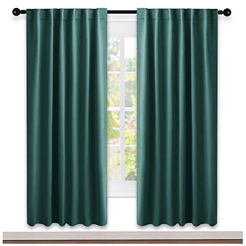 NICETOWN Living Room Blackout Curtains - (Hunter Green Color) W52 x L72, 2 Pieces, Room Darkening Window Blackout Drape Panels
