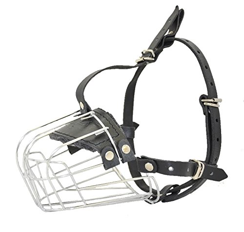 Dogline Metal Wire Basket Dog Muzzle for German Shepard, Labrador, Pitbull, and Similar Breeds L 3.5-in x C 13.25-in (Size 5)