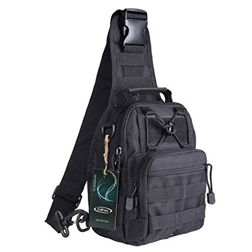 G4Free Lightweight Tactical Assault Small One Strap Sling MOLLE Backpack (A-Black)