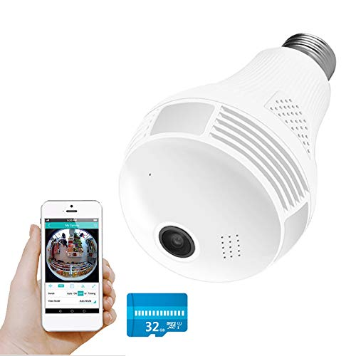 WiFi Camera, Include 32gb Card 1080P WiFi Security Camera, 2mp Wireles IP Led Cam,360 Degrees Panoramic vr Home Surveillance Cameras, Motion Detection/Night Vision/Alarm (White)