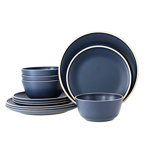 Gufaith Melamine Dinnerware Sets for 4,12 Piece Plates and Bowls Sets, Unbreakable BPA Free, Suitable Indoors And Outdoors (Deep Blue)