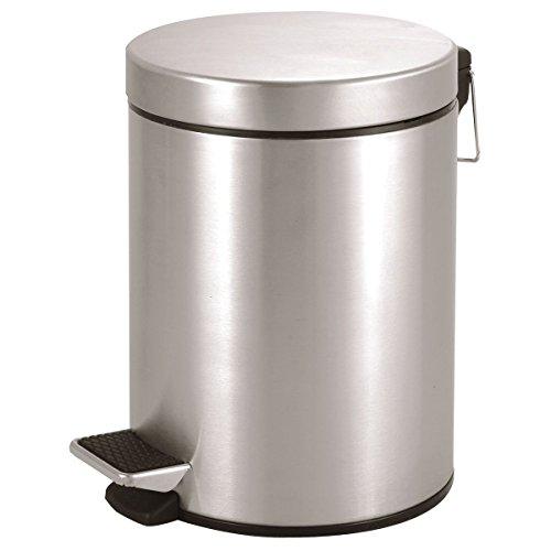 axentia Tretmülleimer Edelstahl matt gebürstet-Mülleimer mit Deckel 5l-Abfalleimer mit Tritt für Bad & Küche-Badmülleimer in Silber, 20.5 x 20.5 x 28.5 cm