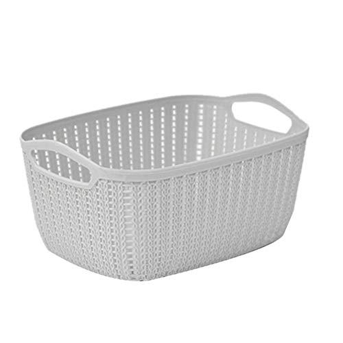 Basket Rectangle Storage Basket with Handle Debris Clothes Bucket Toys Books Organizer Plastic Organizer storage (Color : Light Grey)