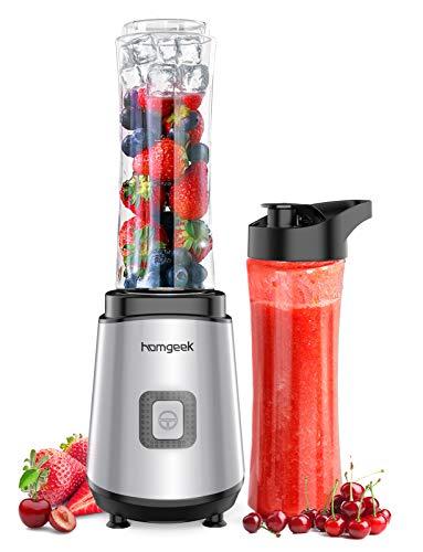Batidora de vaso, homgeek Licuadora portátil 400W, con 2 botellas deportivas Tritan 600ML, sin BPA, para frutas, verduras y batidos, 400W, plateado