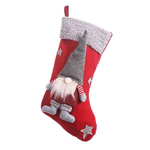 Blanche, calza natalizia, con figurina di gnomo 3D senza volto, decorazione per le Feste, per camino o albero