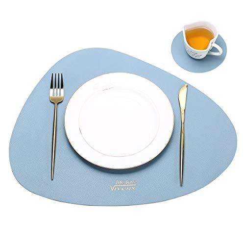 VIVENS Platzset, PU-Leder-Tischsets und Untersetzer 2er-Set, wärmedämmend, schmutzabweisend, rutschfest, Tischset wasserdicht, waschbar, Bunte Tischsets (Blau)