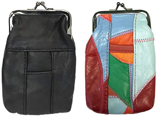 [2-Pack] Eclipse Full Lamb Skin Cigarette Case Pouch, Coin Purse, Lighter Holder, Holds 100s Size (Long) Cigarettes, 3202S {Choose Your Own Colors!} (Black & Multi)