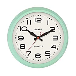 SHARP Retro Wall Clock Seafoam Vintage Design Round Silent Non Ticking Battery Operated Quality Quartz Clock