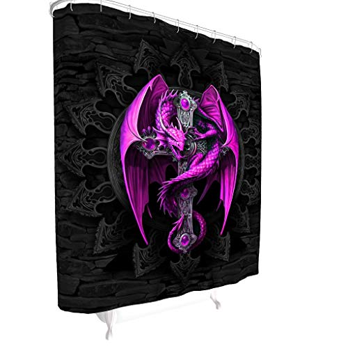 BOBONC Purple Dragon and Cross Muster Duschvorhänge Anti-Bakteriell Wasserdicht Vorhang Badewannenvorhang 100% Polyester White 91x180cm