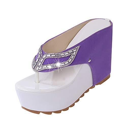 Yhjmdp Frauen Sommer Hausschuhe Frau Strass Flip-Flops High Heels Keile Plattform Mode Strand Sandalen Schuhe,Lila,38