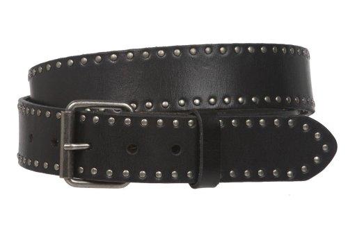 Cinturón de piel con tachuelas de círculo retro vintage genuino, hebilla intercambiable...