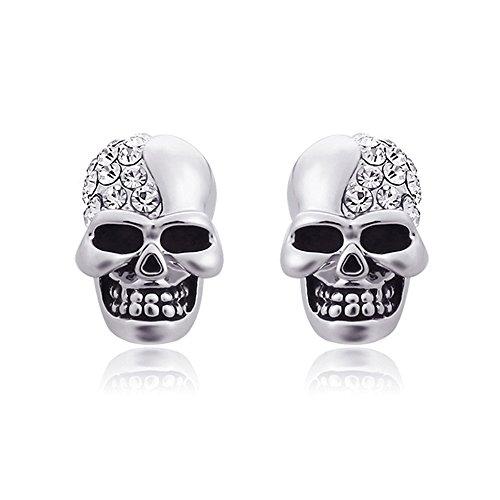 ein paar Edelstahl klassische Totenkopf Ohrstecker Schädel Skull Ohrringe, Punk Rock Stil Ohrhänger Ohrstecker mit Strass, Silber schwarz (silber)
