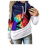 Women's Color Block Sweatshirt Winter Contrast Splice Long Sleeve Hoodie Pullover Tops