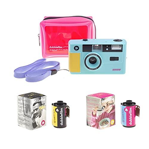 Dubblefilm Show - Fotocamera analogica 35 mm con flash point, colore: turchese, riutilizzabile, con...