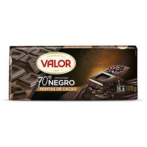 Valor, Chocolate Negro 70% con Pepitas de Cacao - 18 de 170 gr. (Total: 3060 gr.)