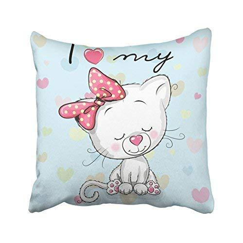 Funda de almohada para decoración del hogar, 18 x 18 pulgadas, diseño de gato con dibujos animados, color blanco, con animales, lazo de animación, personajes de gatos, fundas de cojín decorativas, cuadradas, fundas de almohada para sofá, hogar, accesorios, regalos