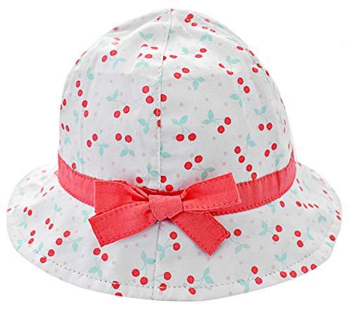 Happy Cherry - Sombrero de Sol Gorro Bebé Gorra con Barbijo Niñas Hat de Pescador Tamaño Ajustable Cordón Transpirable Blanco 50+UPF - Azul - 2-4 Años/52cm