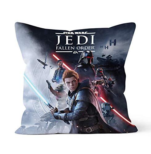 Tainsi Fundas de almohada decorativas de doble cara con cierre de cremallera oculto, regalo de Star Wars Jedi, para decoración del coche, sofá, cama, tamaño 45 cm x 45 cm