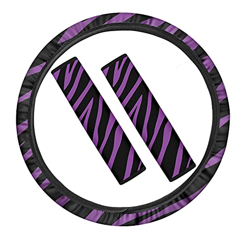 UOIMAG Cubierta púrpura del volante del coche de la impresión de cebra...