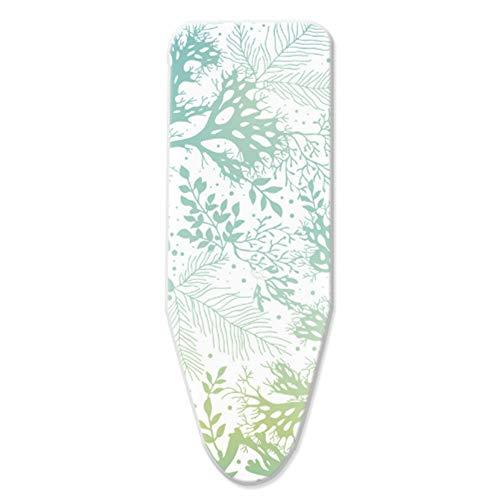 ZJBKX Funda para Tabla de Planchar con Acolchado Grueso, Funda para Tabla de Planchar 100% algodón, con Tablas de Planchar Extra Grandes con cordón, Coral Verde - 140x40cm